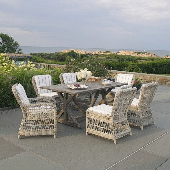 Kingsley Bate Elegant Outdoor Furniture Brussels 73 Rectangular Dining Table With Southampton Chairs