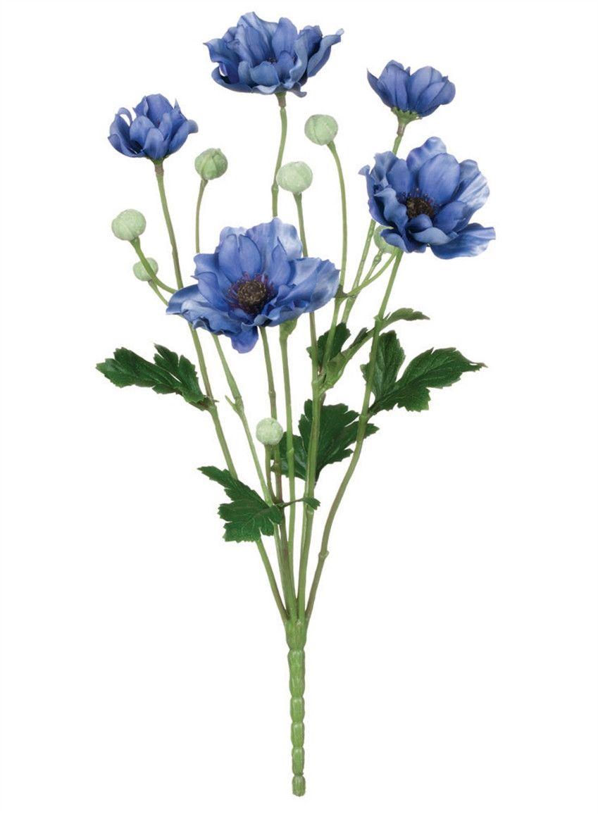 Artificial Anemone Flower Bush In Blue 13 Anemone Flower Silk Flowers Wedding Anemone