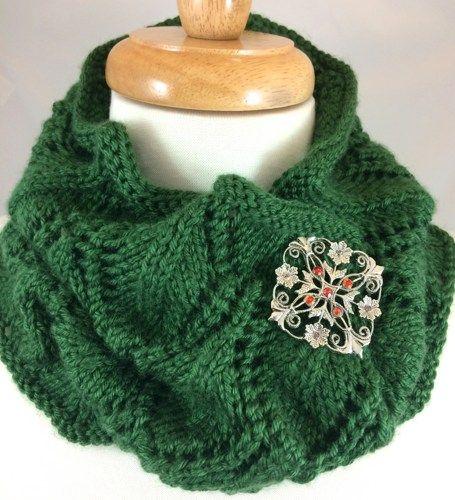 Neck Warmer Green Hand Knit Shield Pattern Dark Sage Caron Simply ...