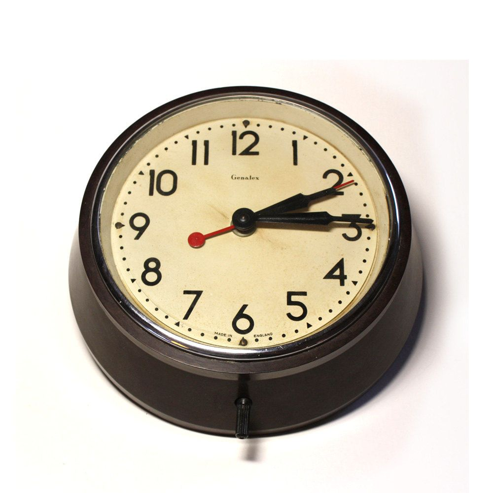 wall clocks for office. ORIGINAL Vintage Industrial Factory Office Electric WALL CLOCK With Brown Bakelite Case Wall Clocks For :