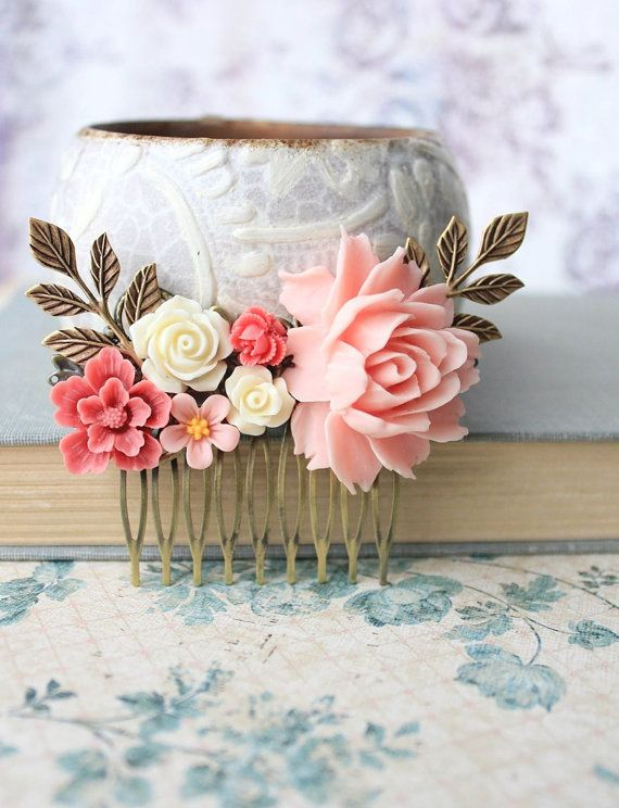 Pink Rose Comb Big Pink Rose Coral Flower Comb Shabby Wedding Accessories Floral Comb Country Chic Bridal Bridesmaids Accessories Gifts