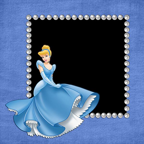 Blue Girls Transparent Frame With Cinderella Photo Frame