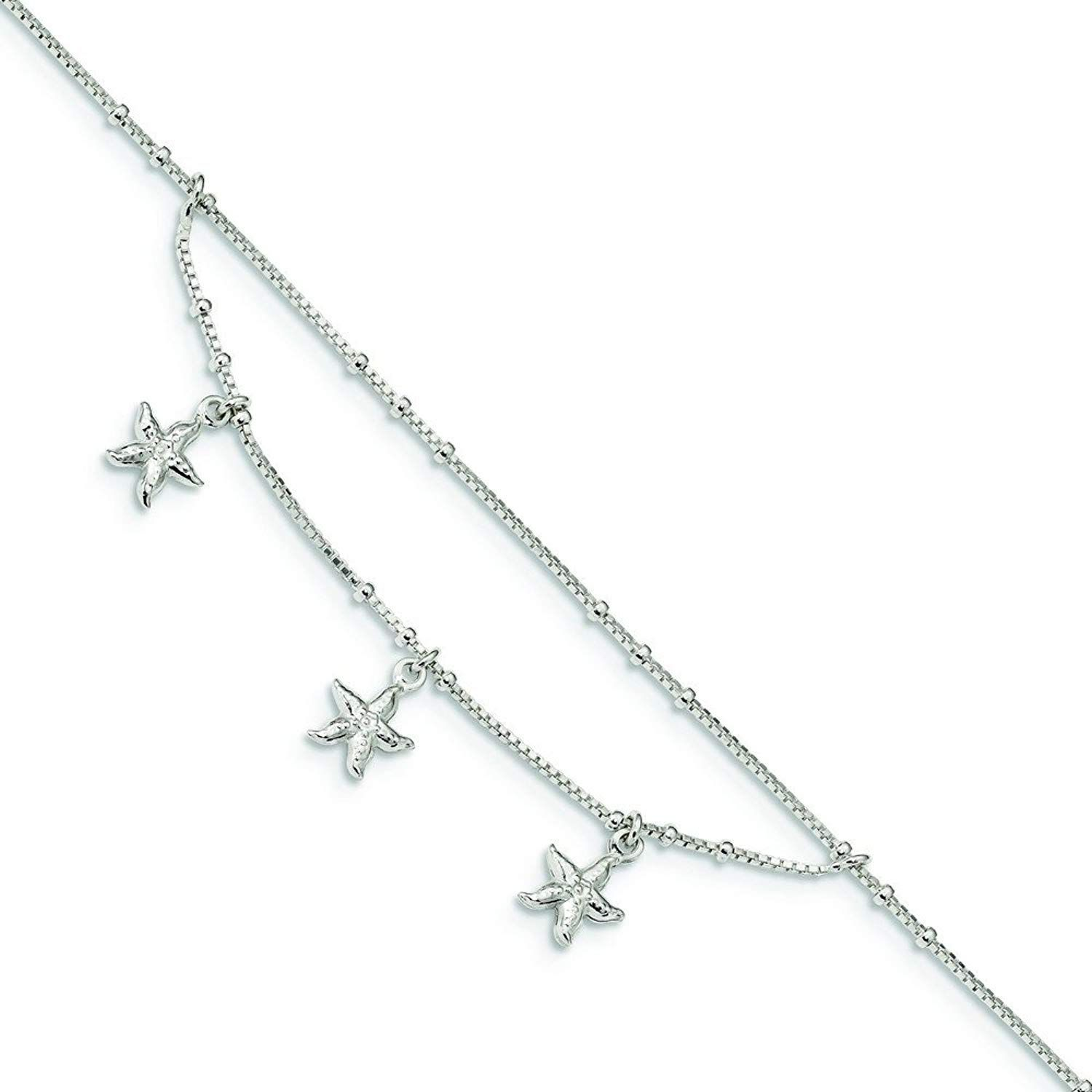 Roy Rose Jewelry Sterling Silver Polished Flower Anklet 10 length