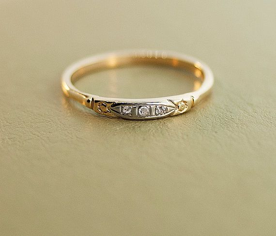 antique 1920s 14k rose gold diamond wedding band - 1920s Wedding Rings