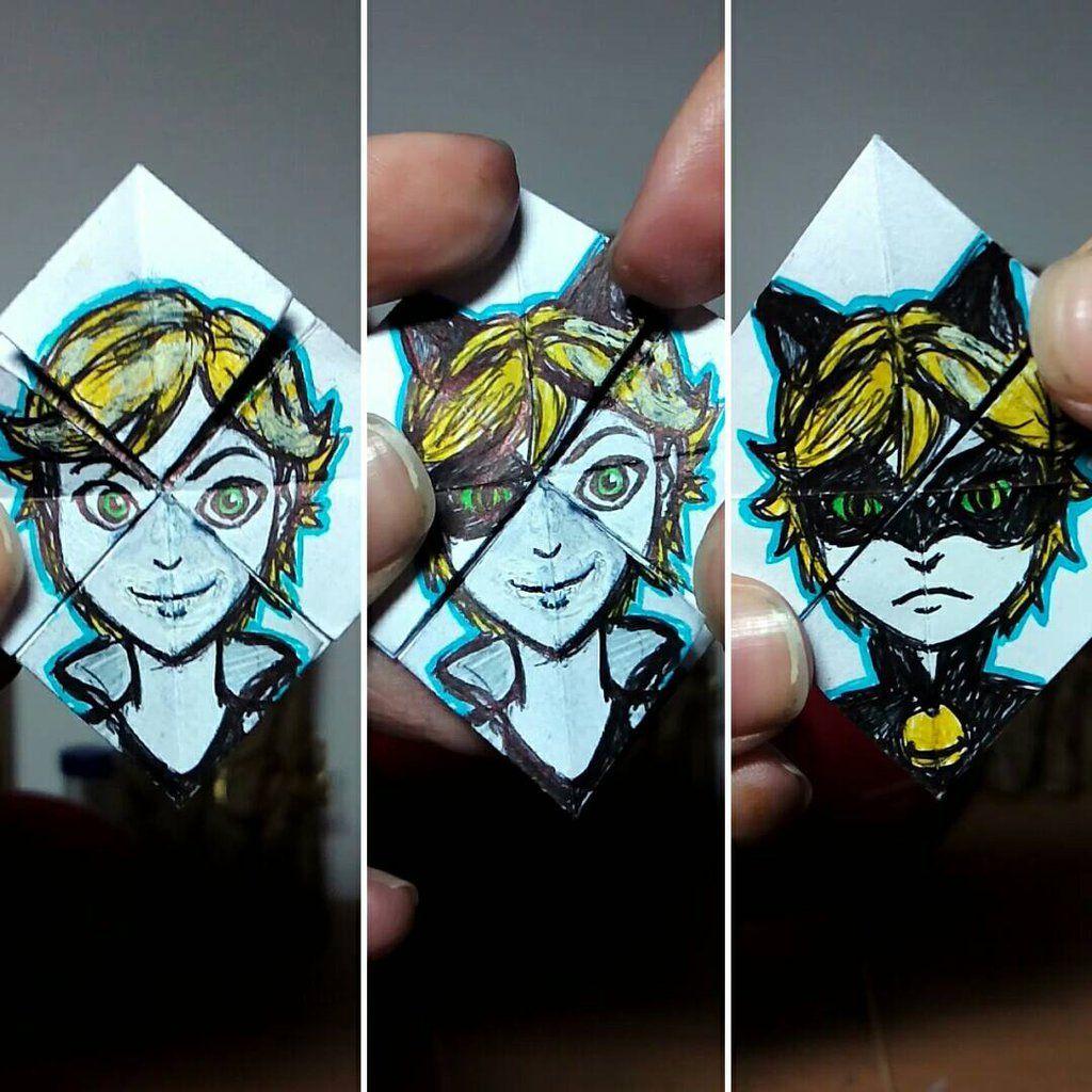 Facechanger origami Chat Noir by LacrymosaAM.deviantart
