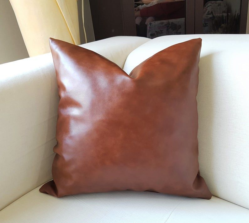 Cognac Brown Faux leather pillow Faux