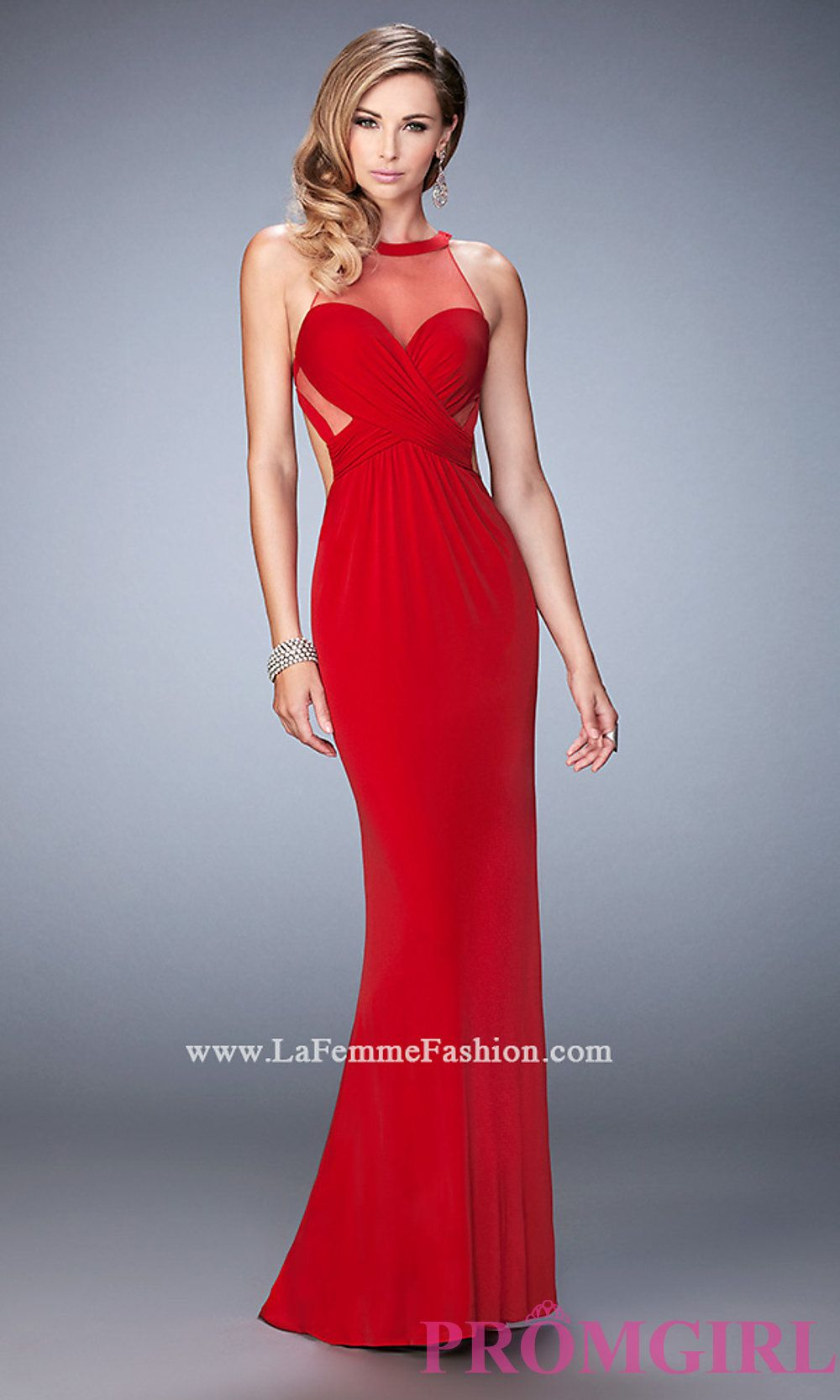 High neck la femme prom dress with open back style lf