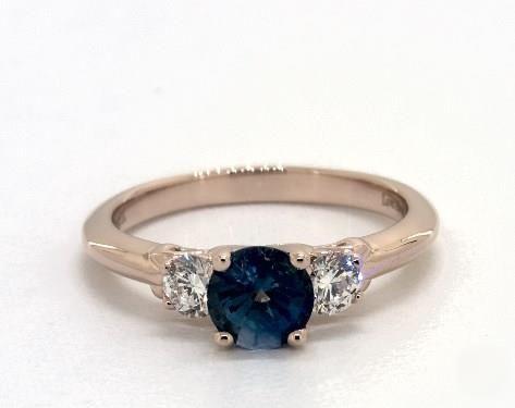 0.92 Carat Round Cut Three Stone Engagement Ring in 14K Rose Gold