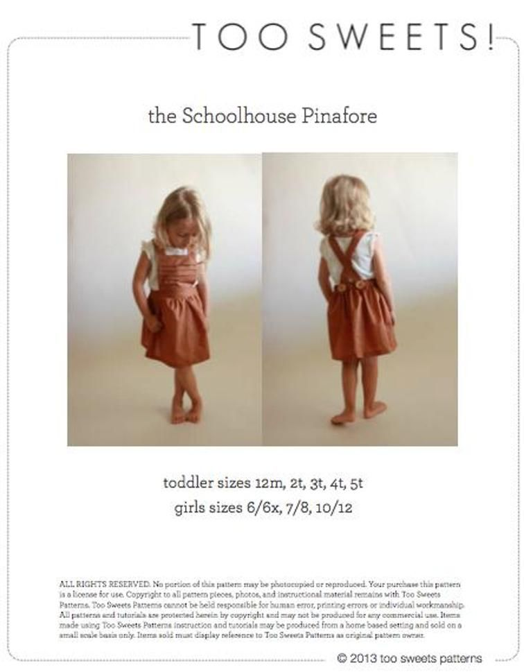 the Schoolhouse Pinafore - 12m to 10/12 | Sewing patterns and Patterns