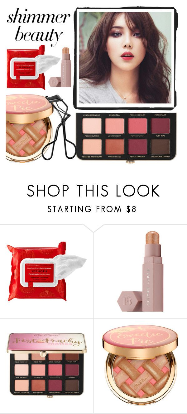 """""""Shine On: Shimmer Beauty"""" by newmariaph ❤ liked on Polyvore featuring beauty, Sephora Collection, Puma, Too Faced Cosmetics and shimmerbeauty"""