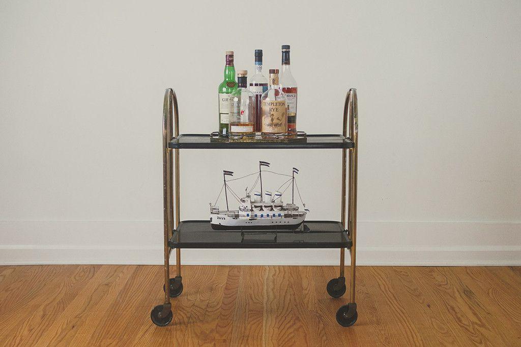 Mcm Folding Bar Cart Folding Bar Cart Gold Bar Cart Bar Cart