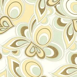 Delicately colored and shimmering with gold, this light and airy print has a quiet, modern elegance.