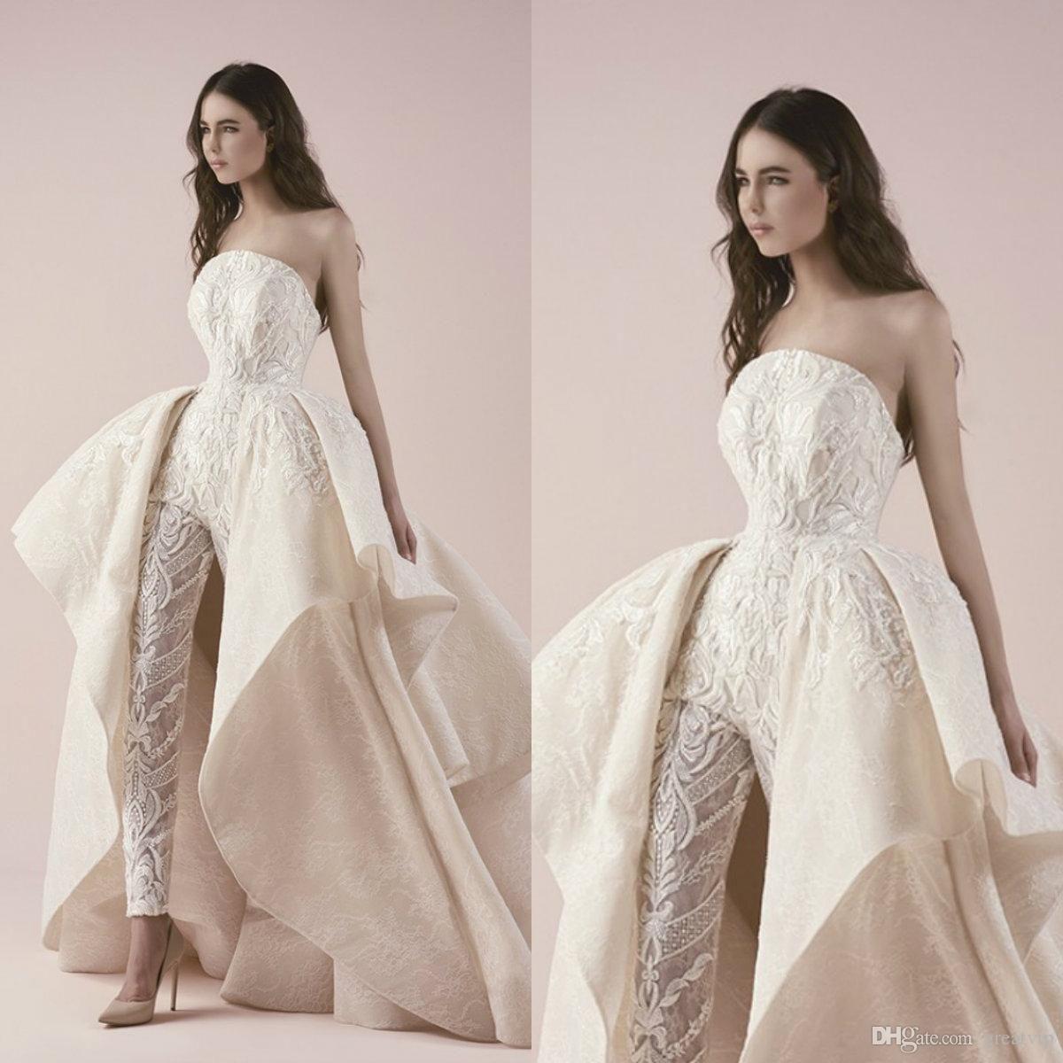 Discount Elegant Overskirts Jumpsuits Wedding Dresses 2019