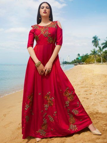 Eternal Red Embroidered Floor Length Flared Gown Eternal