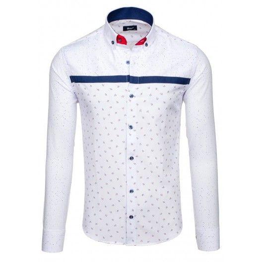 Elegantní bílá pánská košile s modrým vzorem a zapínáním na knoflíky -  manozo.cz 5d96226966
