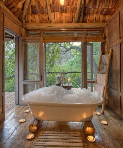 how about a bubble bath with candles in a tiny tree house hotel yes