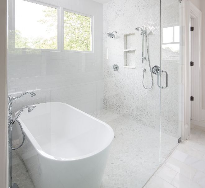 Shower with freestanding tub The master bathroom features ... on Wet Room With Freestanding Tub  id=73327