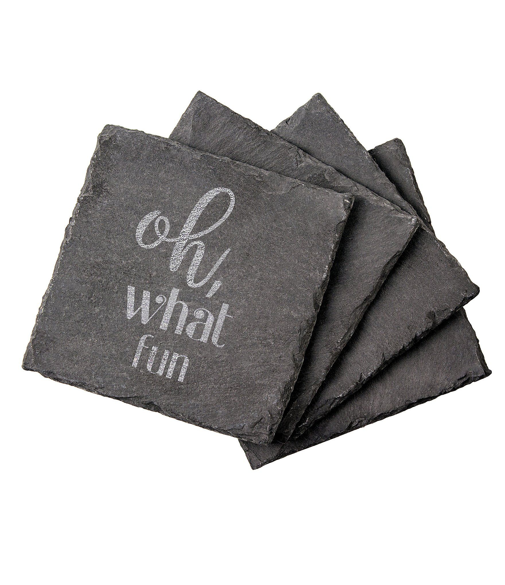 Cathy S Concepts 4 Piece Oh What Fun Coaster Set Dillards Cool Coasters Christmas Coasters Slate Coasters
