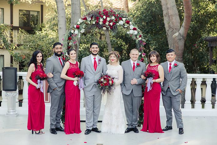 Los Angeles Wedding At The Delancey Street Foundation Bride Lace Gown With Long Sleeves And Flower Headpiece Bridesmaids Red Dresses