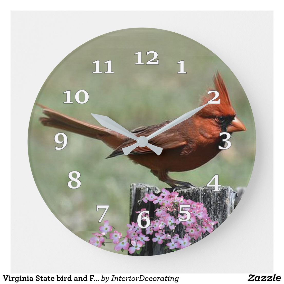 Virginia State Bird And Flower Large Clock