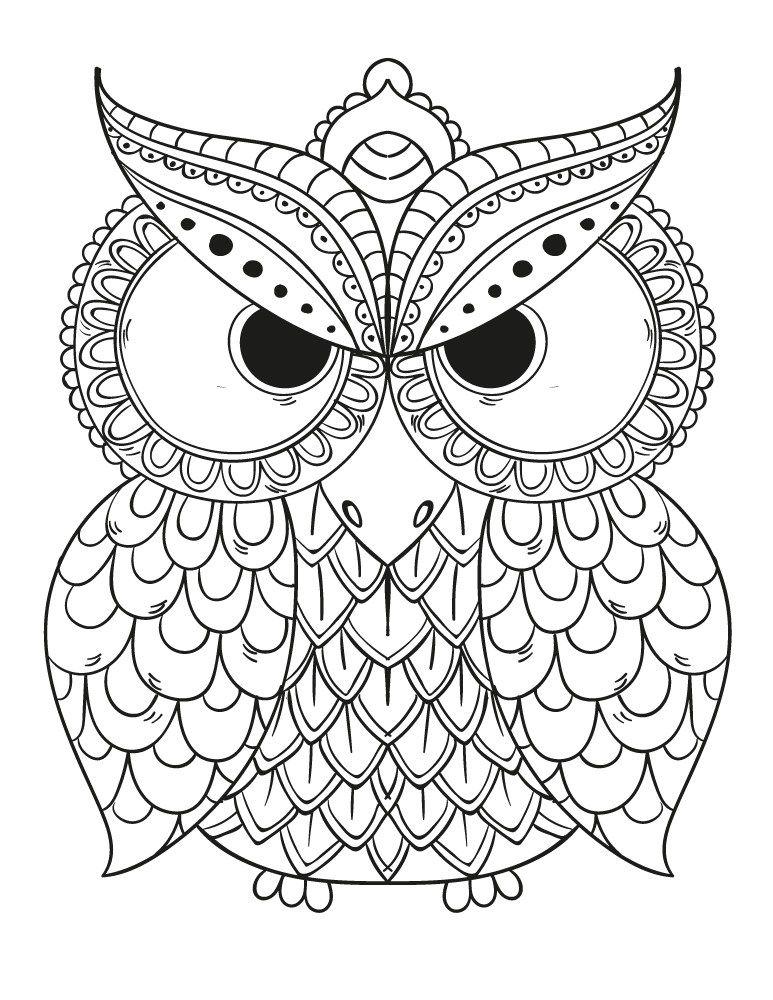 Dessin hibou a imprimer et colorier pour adulte coloriages de hiboux pour adulte owl adult - Coloriage de hibou ...