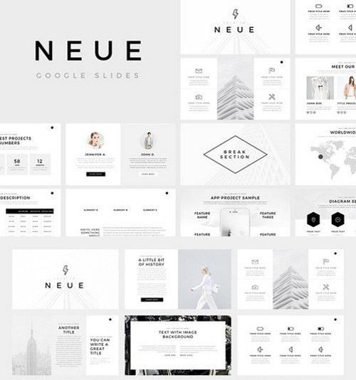 powerpoint minimalist business slide template with free icons, Presentation templates