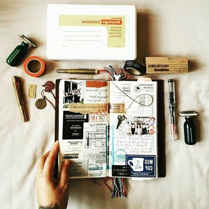 comment faire un carnet de voyage id es inspirantes en 60 photos journal bullet and journaling. Black Bedroom Furniture Sets. Home Design Ideas