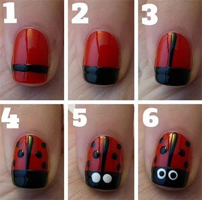 Cool 15 easy nail art tutorials for beginners learners 2014 https image viaday ladybug nail art nails magazineimage vialady bug nails are sooo easy you can do it yourself perfect for spring and other holidays or solutioingenieria Gallery