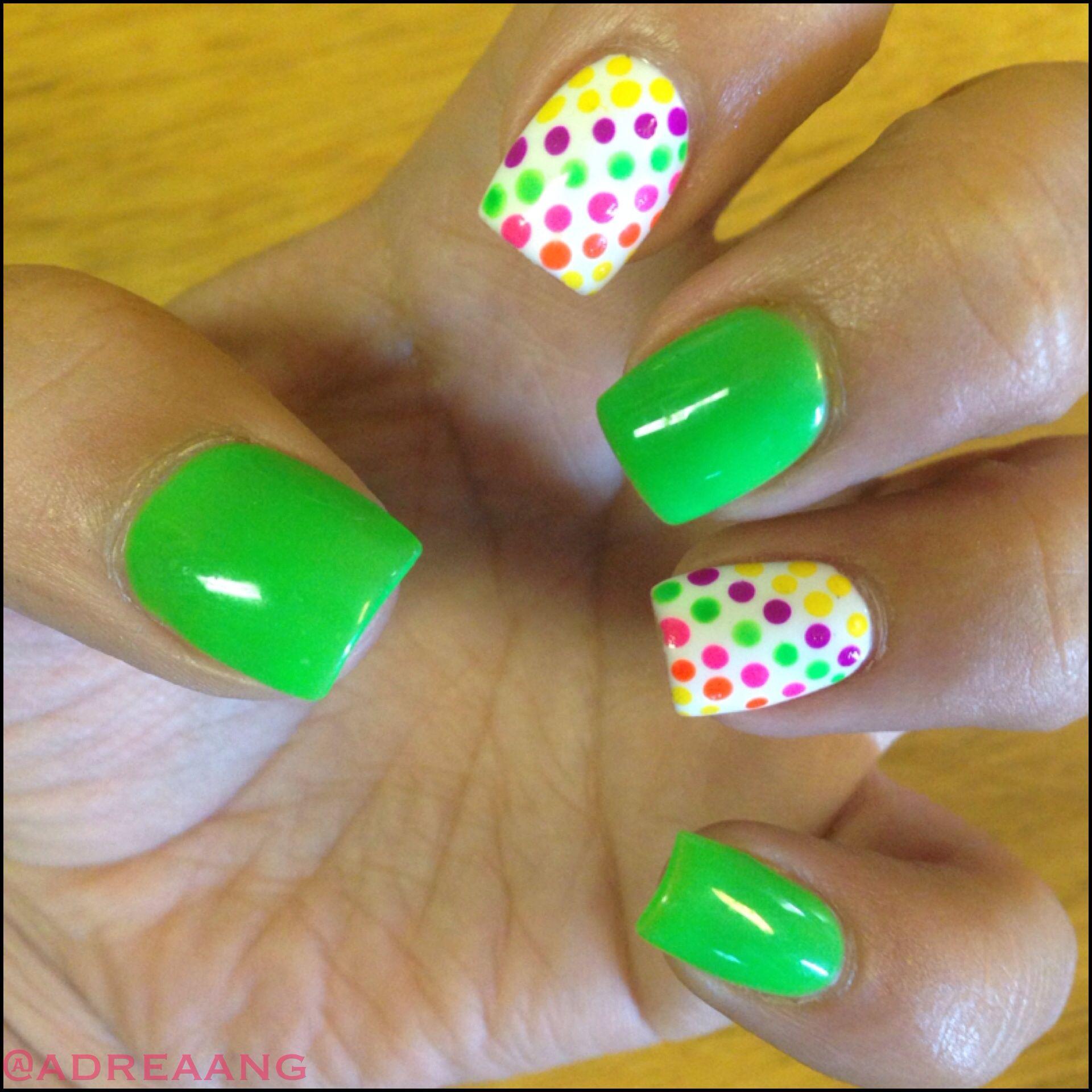 Colorful nails Acrylic nails Nail designs simple designs Neon Nails ...