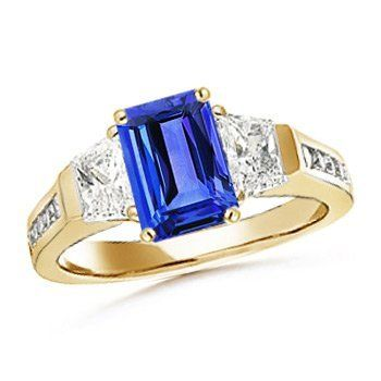 Angara Emerald-Cut Tanzanite Cocktail Ring in White Gold 82Y35m0d