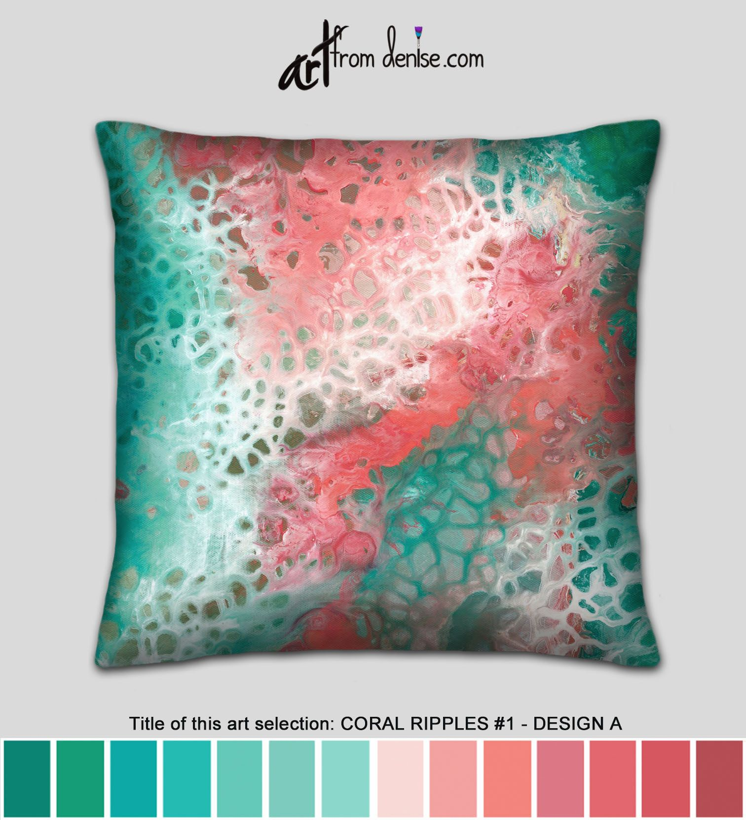 Green White Teal And Coral Throw Pillows Small Decorative Etsy Small Decorative Pillow Bed Pillows Decorative Coral Throw Pillows