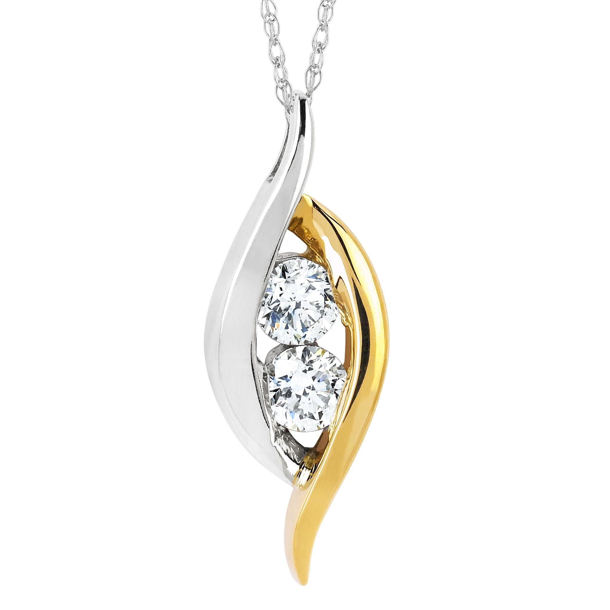 Boston Bay Diamonds k White and Yellow Gold ct TDW Two Stone