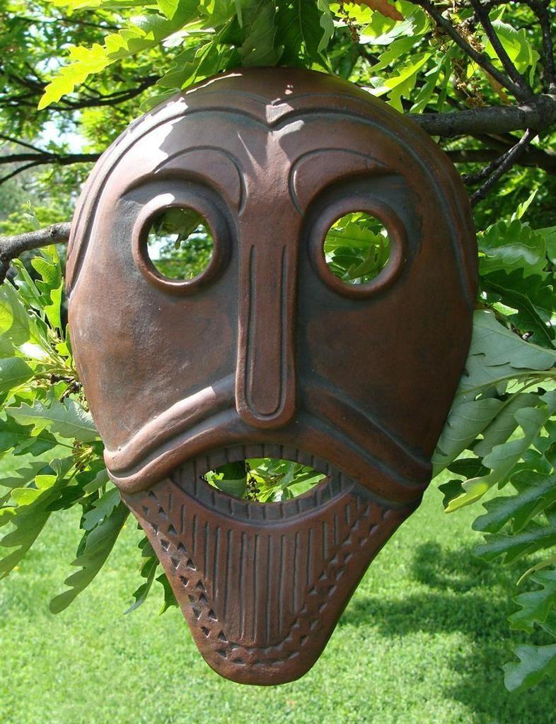 Contemporary ceramic mask based on Oseberg Wain Head - www.wulflund.com No longer available.
