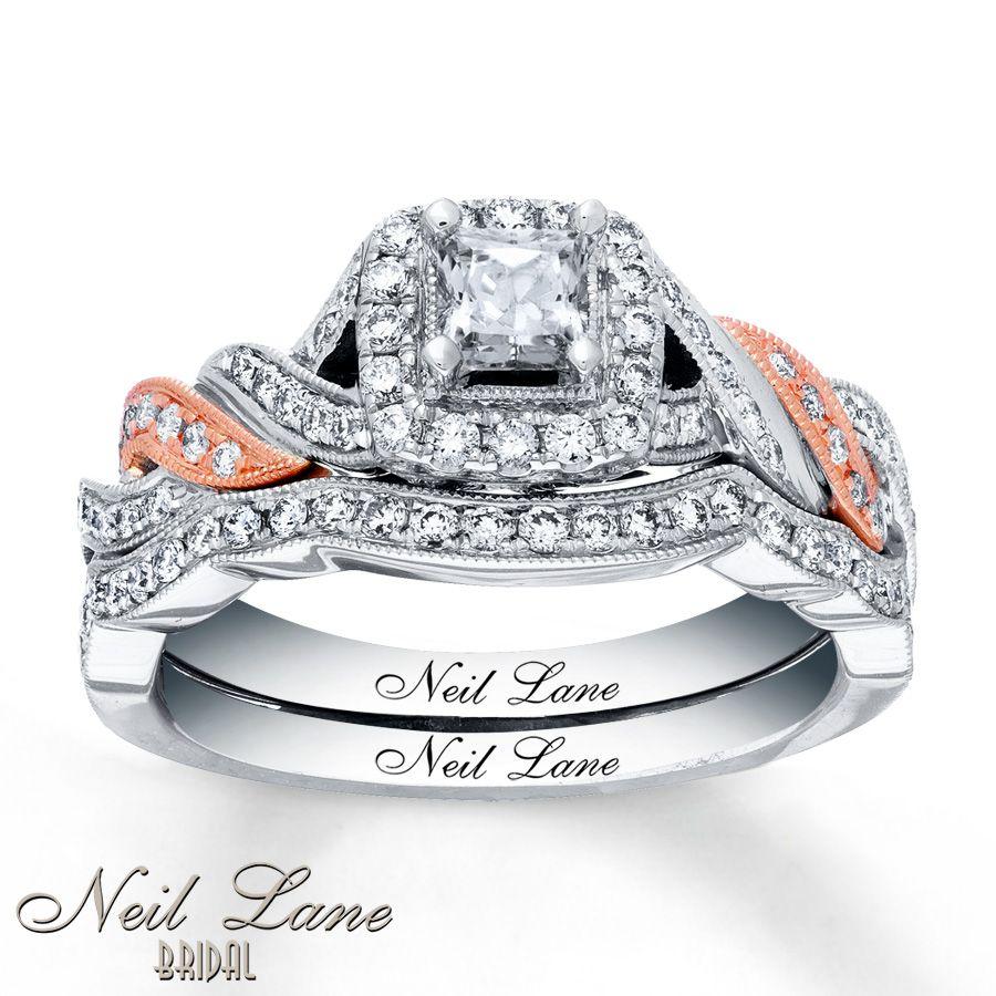 neil lane wedding bands Neil Lane Bridal Set 7 8 ct tw Diamonds 14K Two Tone Gold