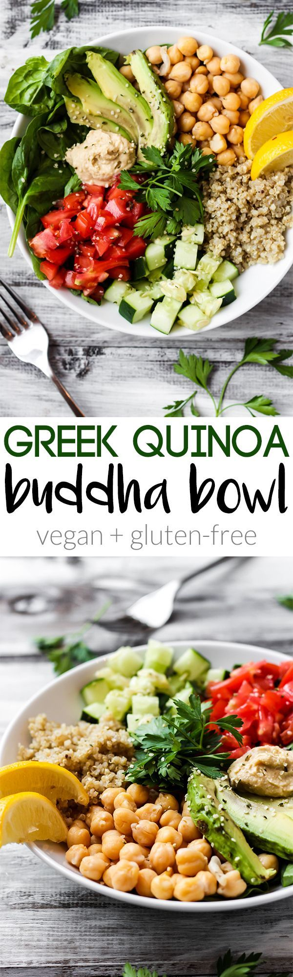Full of greens and beans, this Greek Quinoa Buddha Bowl is the ultimate healthy lunch or dinner. Its ready in 20 minutes and