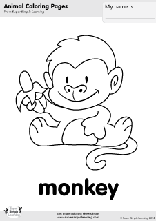 Free monkey coloring page from Super Simple Learning. Tons