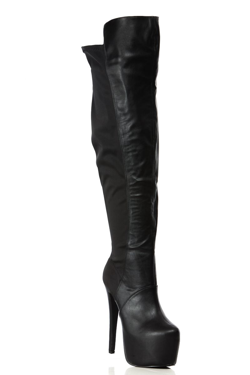 black faux leather thigh high platform boots cicihot