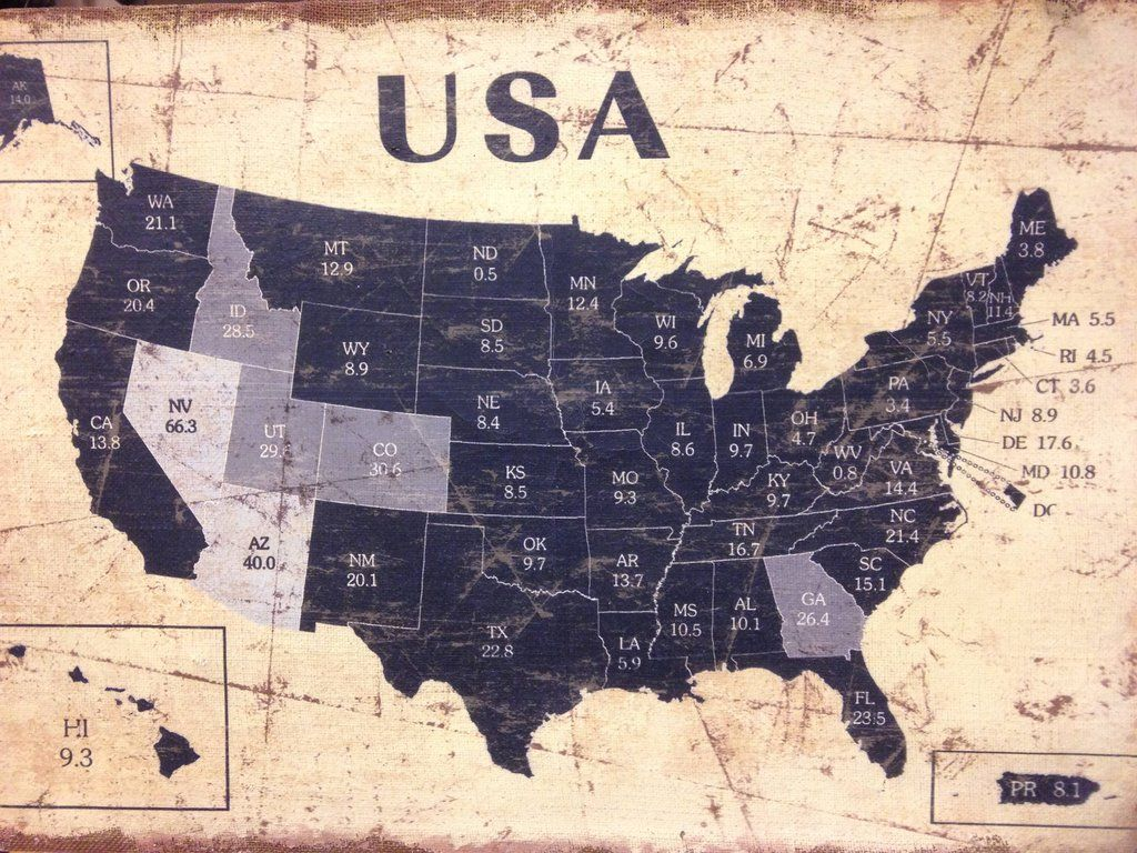 Line Art Usa Map : Found this map of usa in a shop does anyone know what the numbers