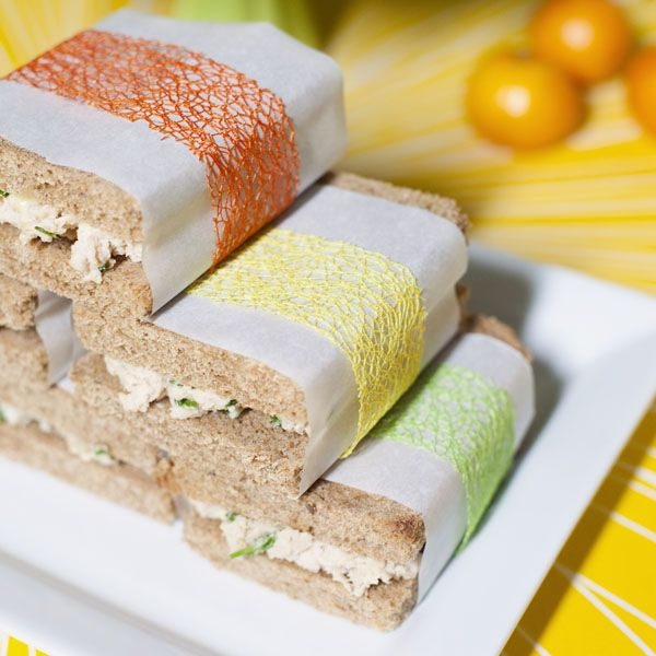 Festively wrap sandwiches for your bridal shower luncheon. #bridalshowerfood