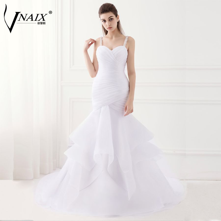 Mermaid ruffle wedding dress  Mermaid Wedding Dress Organza Wedding Dress Real Photo Wedding