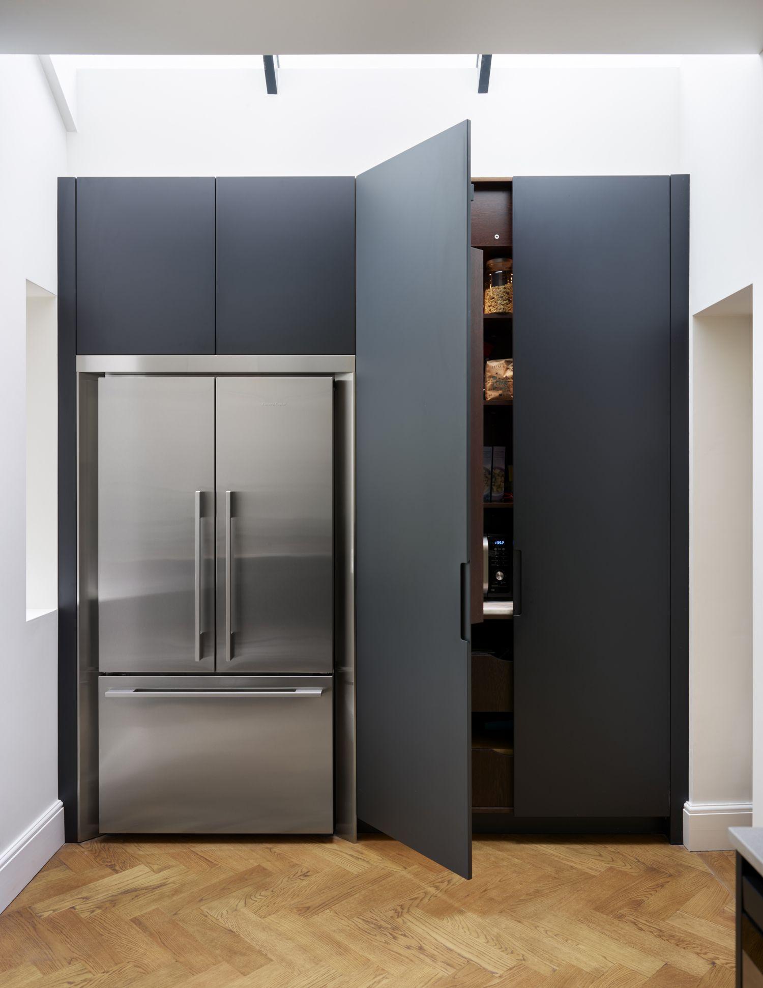 Simple larder in dark grey matt lacquer roundhouse kitchen kitchen