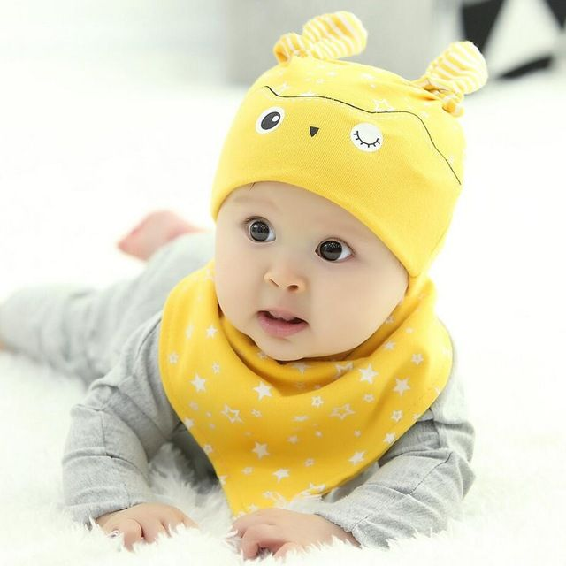 3dd11829ce60 Promotion price 2 pcs   set Hot Sale Newborn Hats bibs Baby Boy ...