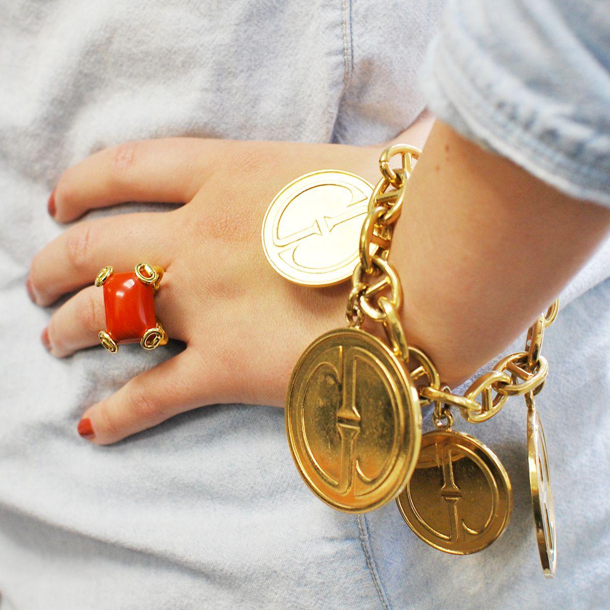 Gucci 18k Gold Bit Ring & Gucci Charm Link Bracelet  Cleo Walker