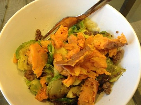 Brussels Sprout Buffalo with Sweet Potato Mash