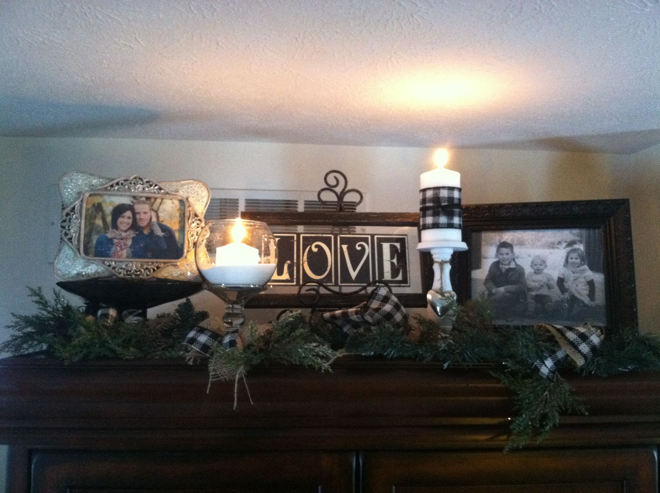 Winter Decor On Top Of My Entertainment Center Pinning For Future