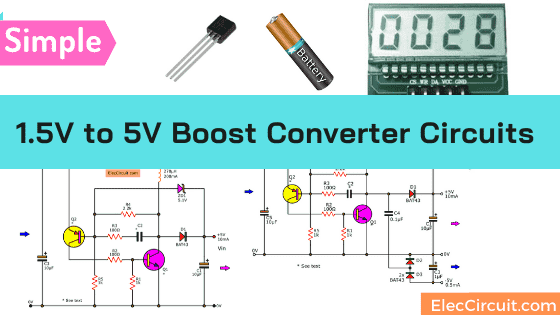 1 5v To 5v Boost Converter Circuit For Micro Computer Eleccircuit Com Electronic Circuit Projects Basic Electronic Circuits Micro Computer