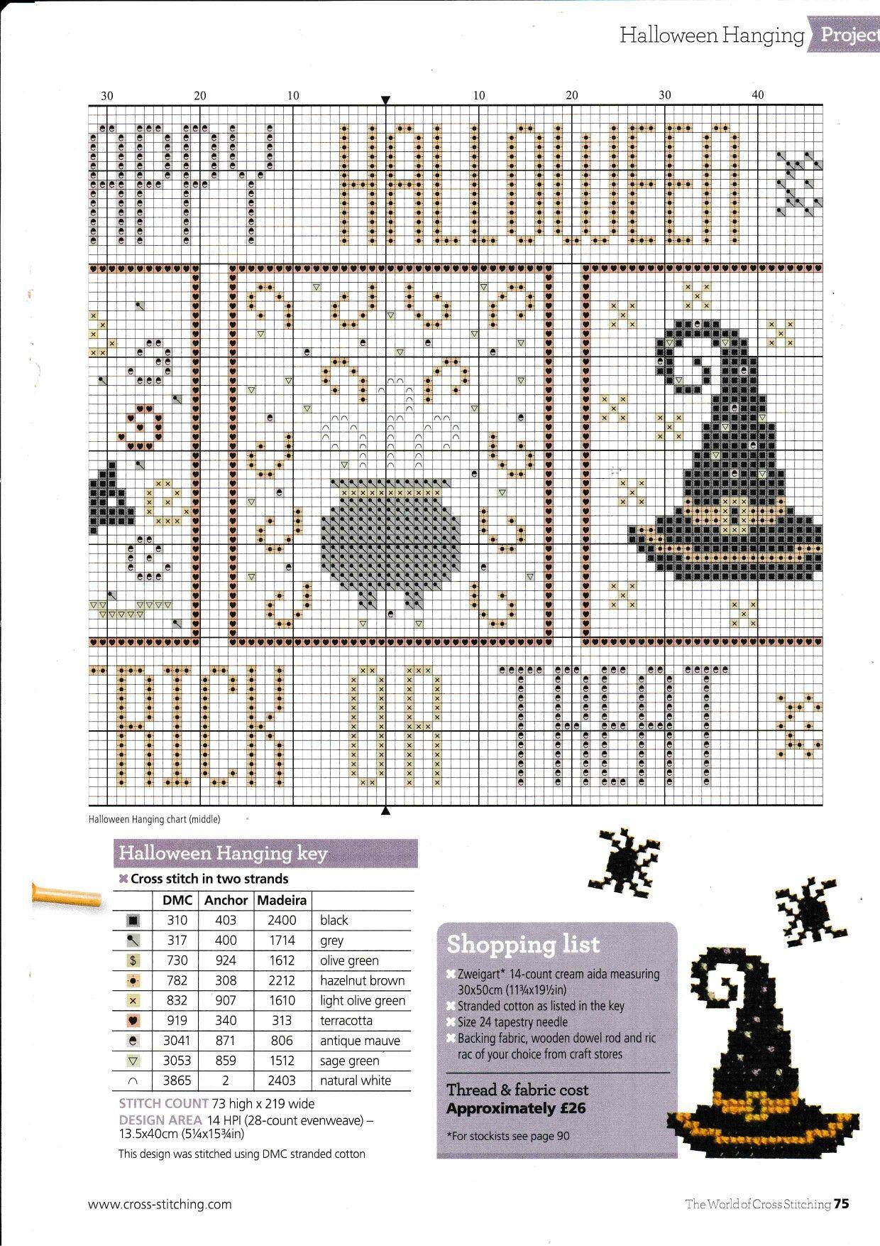 Halloween banner | halloween | Pinterest | Punto de cruz, Bordado y ...
