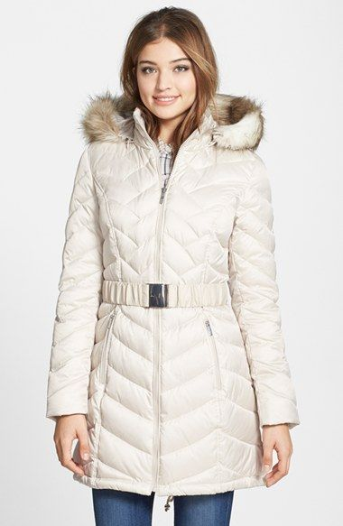 Laundry By Shelli Segal Down Feather Fill Coat With Faux Fur