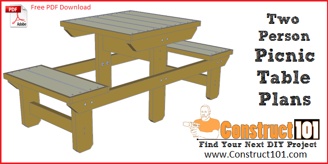 Two Person Picnic Table Plans Free Pdf Download Construct101 Picnic Table Plans Picnic Table Woodworking Table Plans