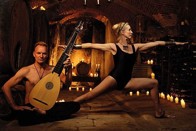 Sting and wife Trudi.  Yoga strong for over 20 years